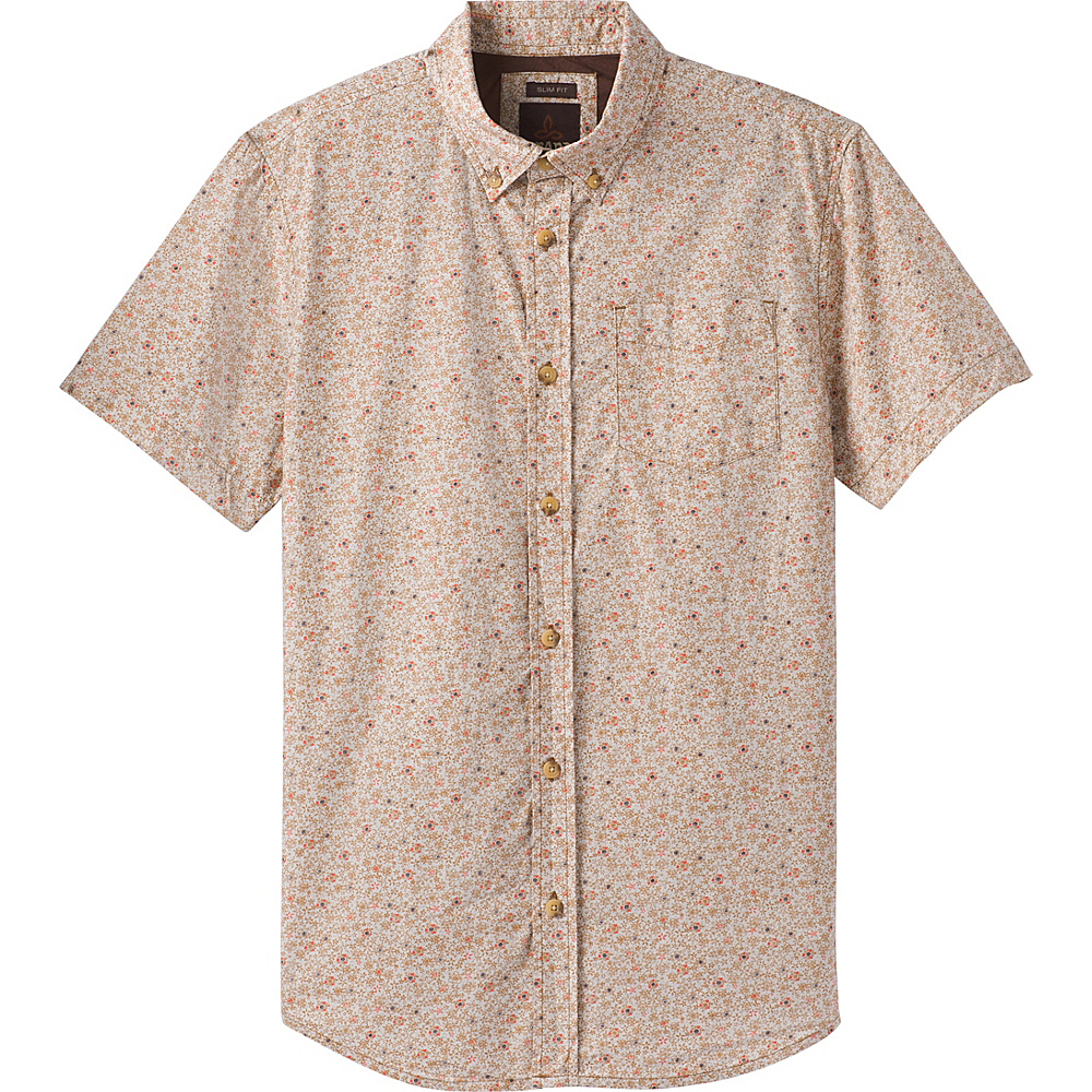 PrAna Broderick Floral Short Sleeve Slim Shirt XL - Cumin - PrAna Mens Apparel - Apparel & Footwear, Men's Apparel