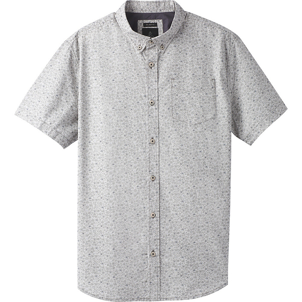 PrAna Broderick Floral Short Sleeve Slim Shirt XXL - Gravel - PrAna Mens Apparel - Apparel & Footwear, Men's Apparel
