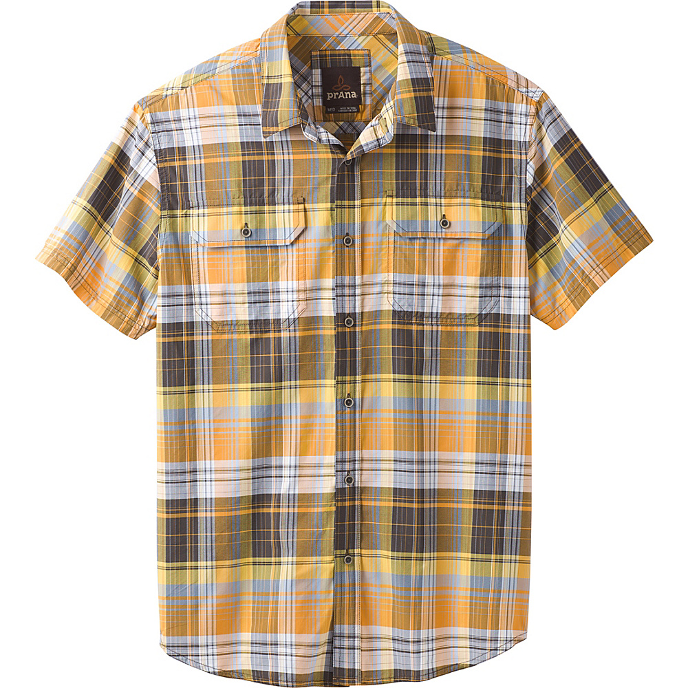 PrAna Cayman Plaid Short Sleeve Shirt M - Golden Barrel - PrAna Mens Apparel - Apparel & Footwear, Men's Apparel
