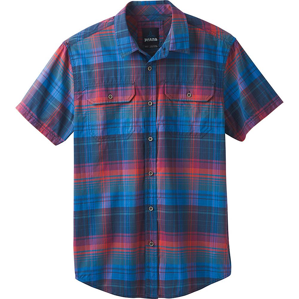 PrAna Cayman Plaid Short Sleeve Shirt XXL - Island Blue - PrAna Mens Apparel - Apparel & Footwear, Men's Apparel