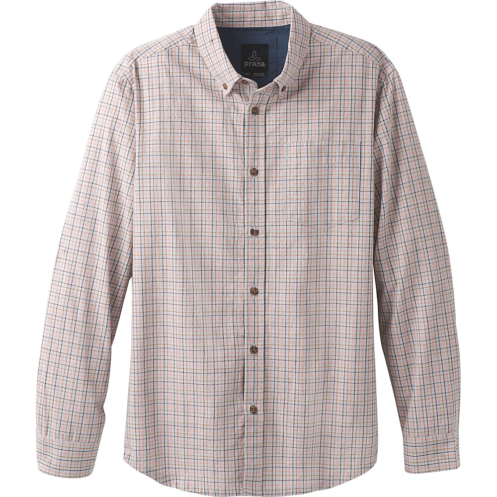PrAna Broderick Check Long Sleeve L - Georgia Peach - PrAna Mens Apparel - Apparel & Footwear, Men's Apparel