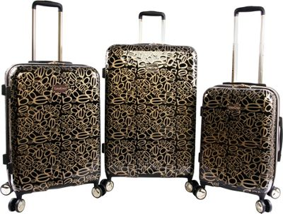 BEBE Annabelle 3 Piece Set Suitcase with Spinner Wheels Black/Gold - BEBE Luggage Sets