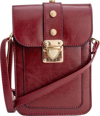 Rebecca & Rifka Triple Compartment Crossbody Burgundy - Rebecca & Rifka Manmade Handbags