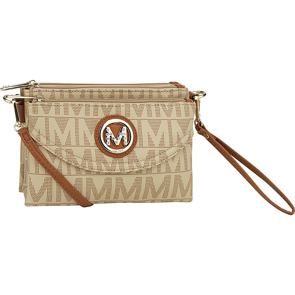 MKF Collection by Mia K. Farrow Caprice M Signature 4 Compartment Crossbody Beige - MKF Collection by Mia K. Farrow Fabric Handbags - Handbags, Fabric Handbags