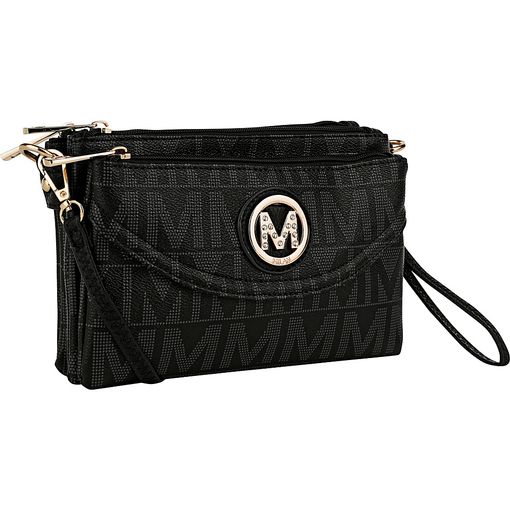MKF Collection by Mia K. Farrow Caprice M Signature 4 Compartment Crossbody Black - MKF Collection by Mia K. Farrow Fabric Handbags - Handbags, Fabric Handbags