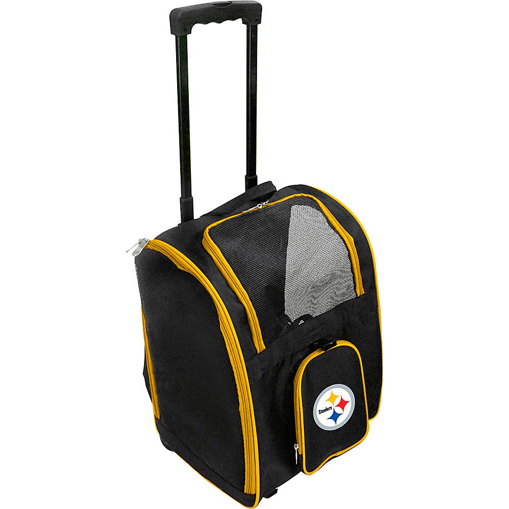 Mojo Licensing NFL Wheeled 16  Premium Pet Carrier Pittsburgh Steelers - Mojo Licensing Pet Bags NFL Wheeled 16  Premium Pet Carrier Pittsburgh Steelers. NFL Pet Carrier Premium bag with wheels