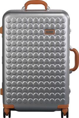 Dot Drops Chapter 4 24 inch Hardside Checked Spinner Luggage Silver - Dot Drops Hardside Checked