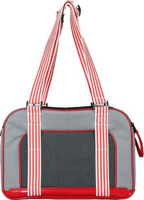Petlife Candy Cane Fashion Pet Carrier Grey/Red - Pet Lif...