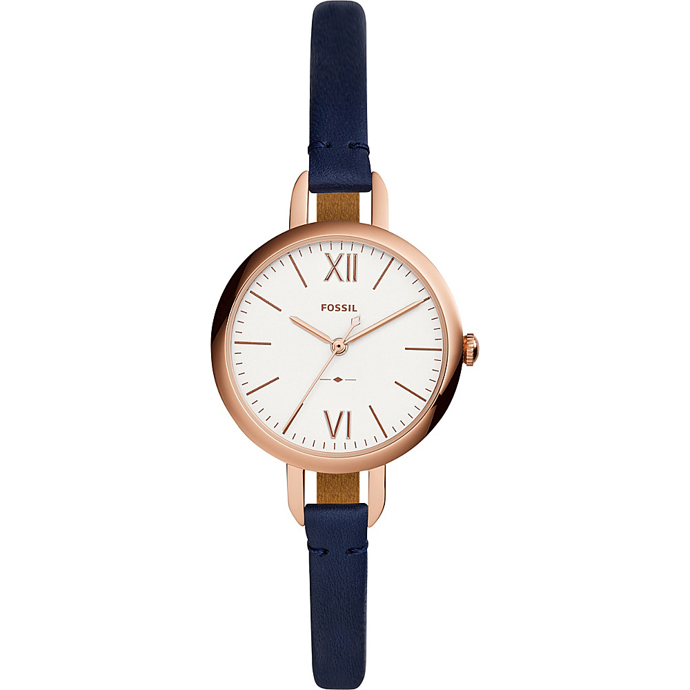Fossil Annette Three-Hand Navy Leather Watch Blue - Fossil Watches - Fashion Accessories, Watches