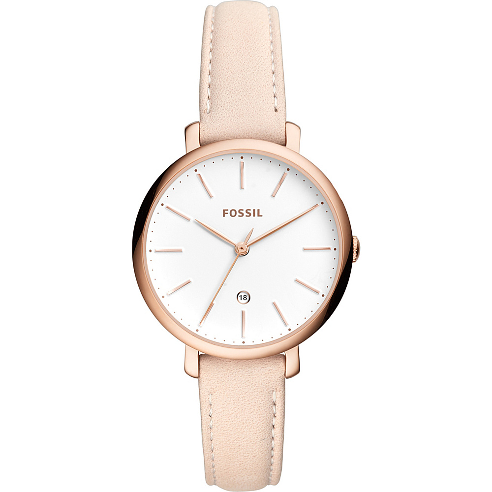 Fossil Jacqueline Three-Hand Date Pastel Pink Leather Watch Beige - Fossil Watches - Fashion Accessories, Watches