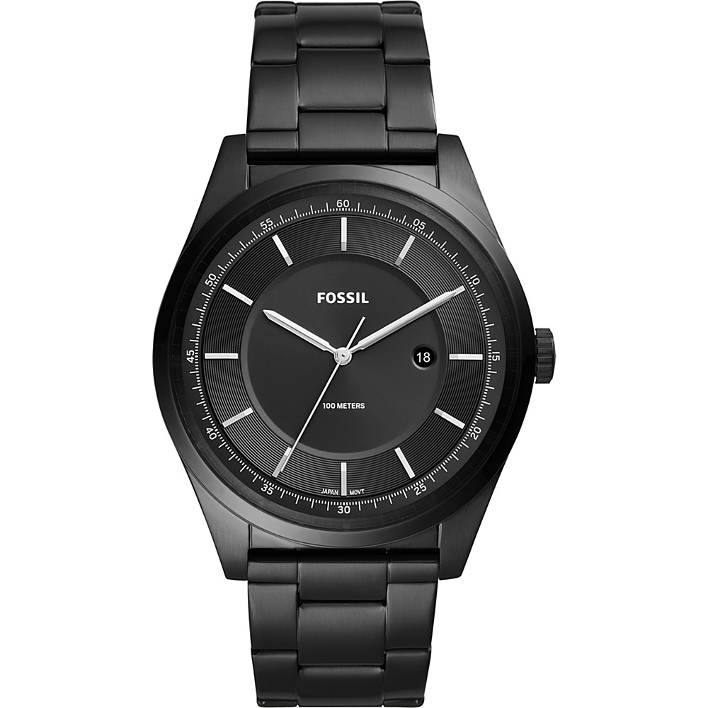 Fossil Mathis Three-Hand Date Black Stainless Steel Watch Black - Fossil Watches - Fashion Accessories, Watches