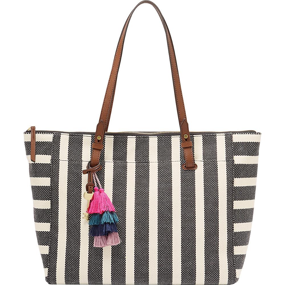 Fossil Rachel Tote Black Stripe - Fossil Fabric Handbags - Handbags, Fabric Handbags
