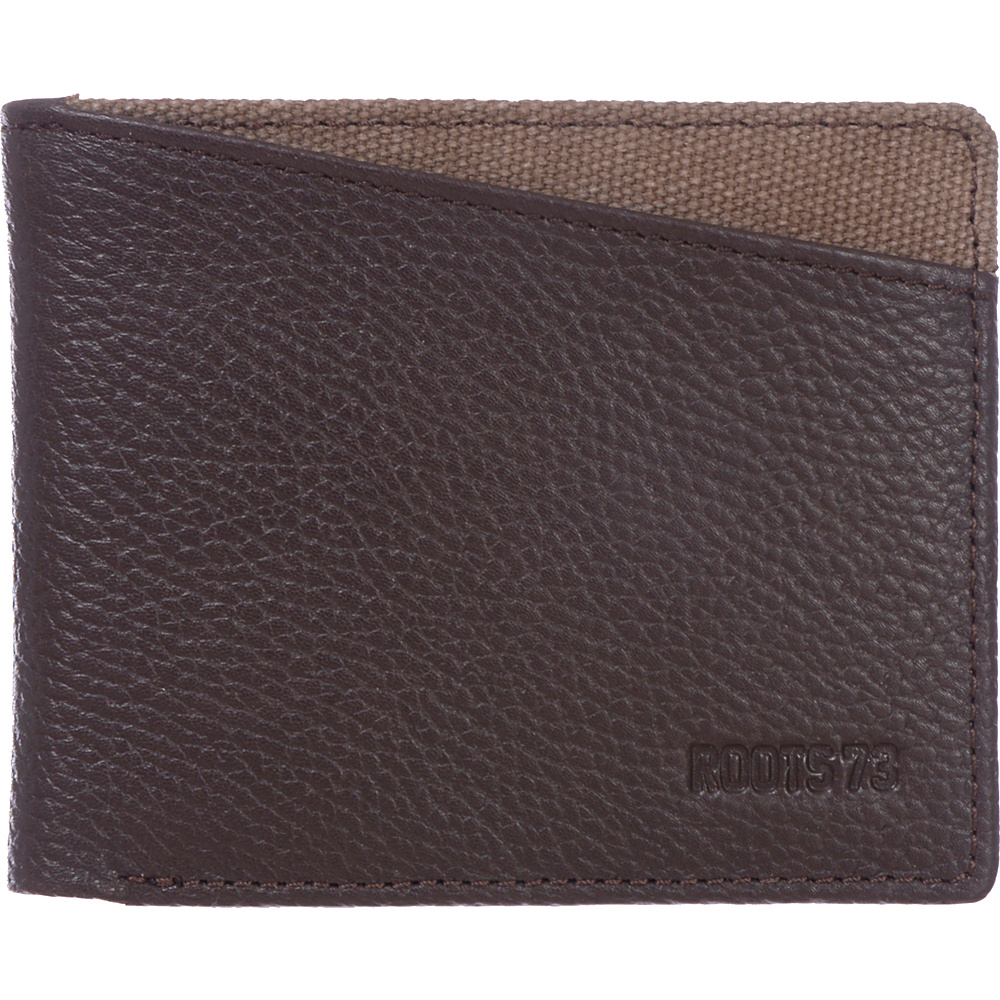 Roots 73 Leather Slimfold Rfid Wallet With Coin Pocket Brown Roots 73 Men's Wallets