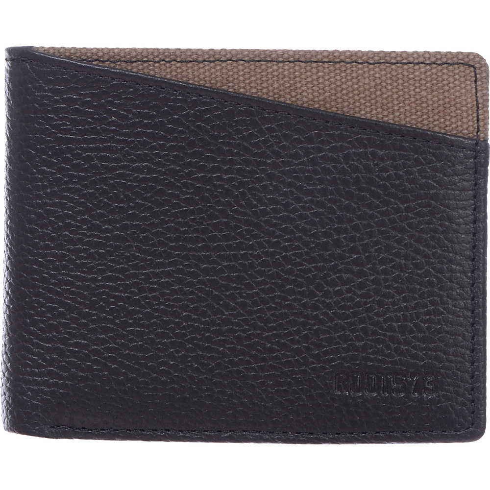 Roots 73 Leather Slimfold Rfid Wallet With Coin Pocket Black Roots 73 Men's Wallets