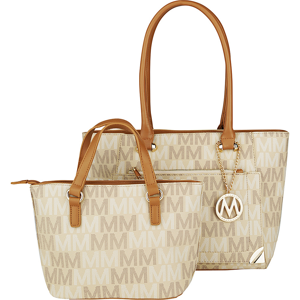MKF Collection by Mia K. Farrow Lady M Signature Tote Set Beige - MKF Collection by Mia K. Farrow Manmade Handbags - Handbags, Manmade Handbags