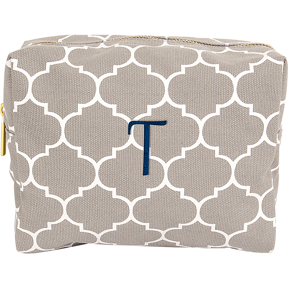 Cathys Concepts Monogram Cosmetic Bag Grey - T - Cathys Concepts Toiletry Kits - Travel Accessories, Toiletry Kits