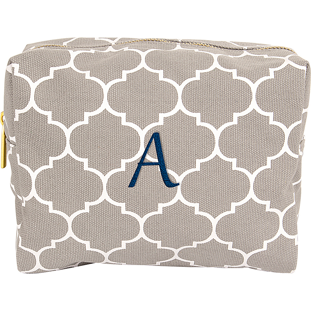 Cathys Concepts Monogram Cosmetic Bag Grey - A - Cathys Concepts Toiletry Kits - Travel Accessories, Toiletry Kits