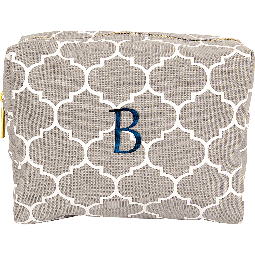 Cathys Concepts Monogram Cosmetic Bag Grey - B - Cathys Concepts Toiletry Kits - Travel Accessories, Toiletry Kits