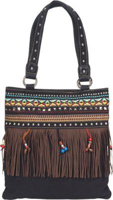 Montana West Fringe Canvas Tote Black - Montana West Fabric Handbags