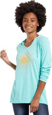 Life is good Womens Hooded Long Sleeve Smooth Tee XL - Cool Aqua - Life is good Women's Apparel