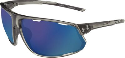 Under Armour Eyewear Strive Sunglasses Gloss Crystal Smoke/Black/Hi Pro Blue Mirror - Under Armour Eyewear Sunglasses