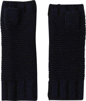 Kinross Cashmere Plaited Fingerless Gloves One Size - Inkwell/Black - Kinross Cashmere Hats/Gloves/Scarves