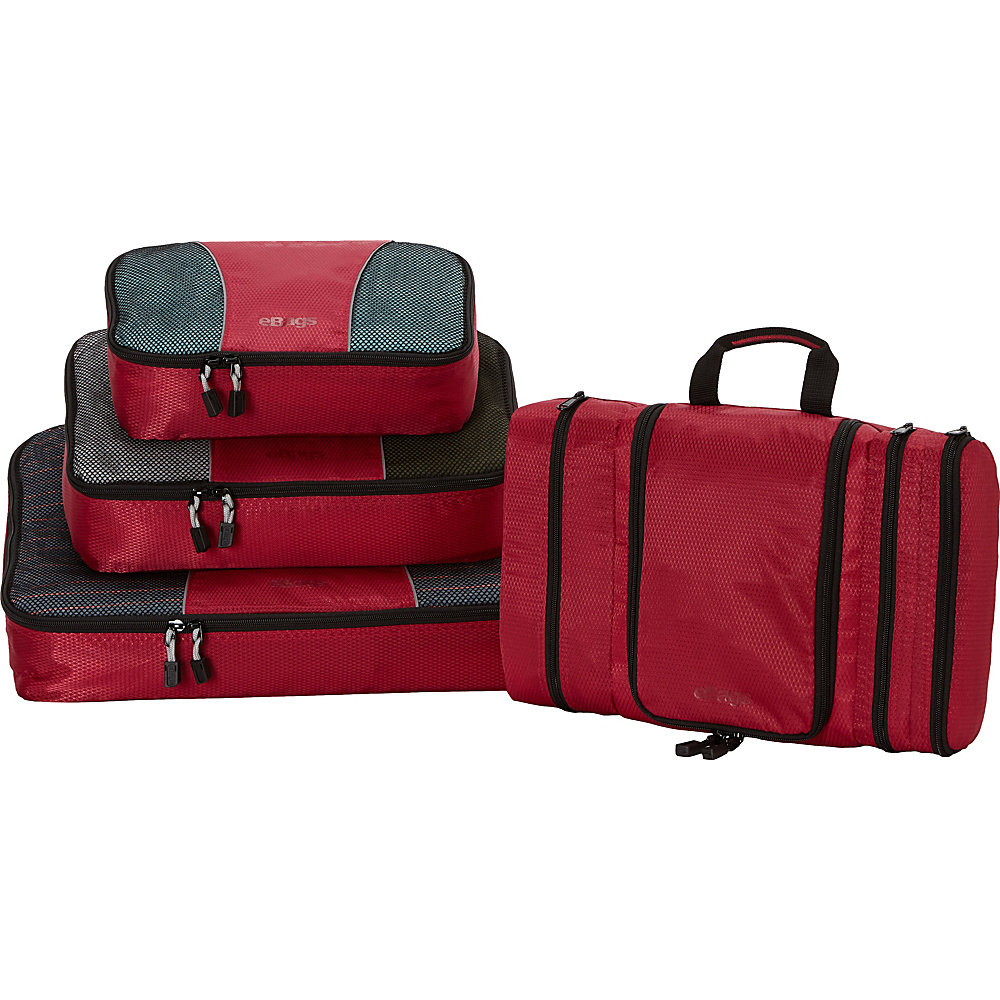 eBags Pro Packer 3pc Classic Packing Cubes with Pack-It-Flat Toiletry Kit Raspberry - eBags Travel Organizers
