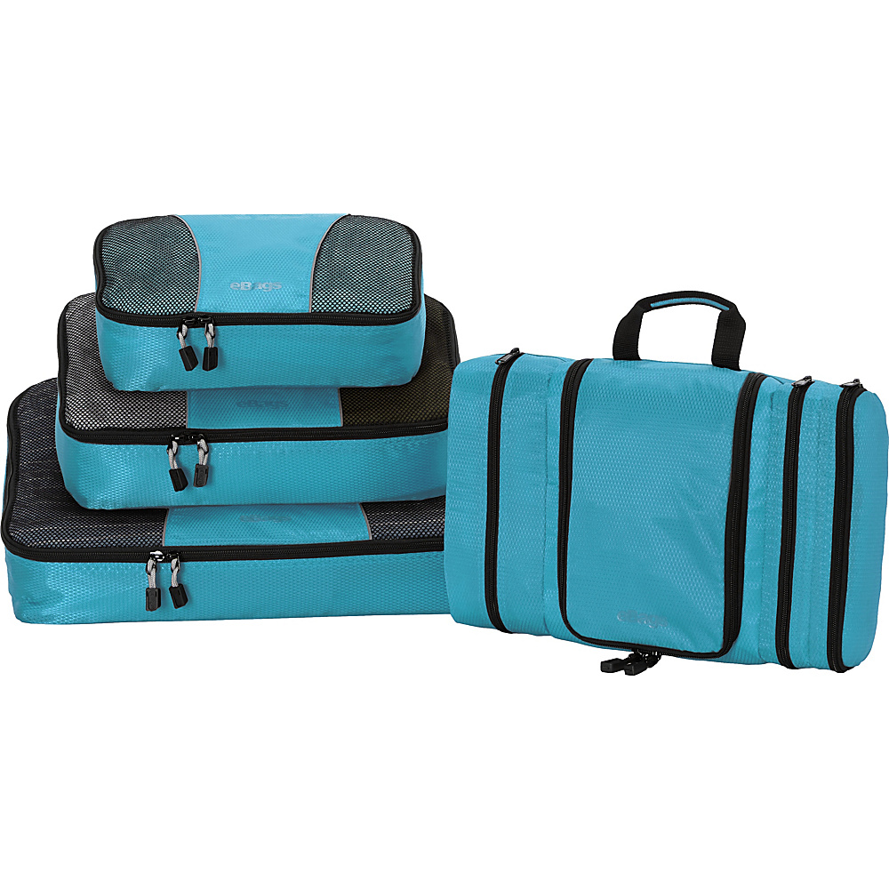 eBags Pro Packer 3pc Classic Packing Cubes with Pack-It-Flat Toiletry Kit Aquamarine - eBags Travel Organizers