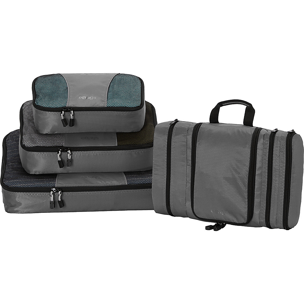 eBags Pro Packer 3pc Classic Packing Cubes with Pack-It-Flat Toiletry Kit Titanium - eBags Travel Organizers
