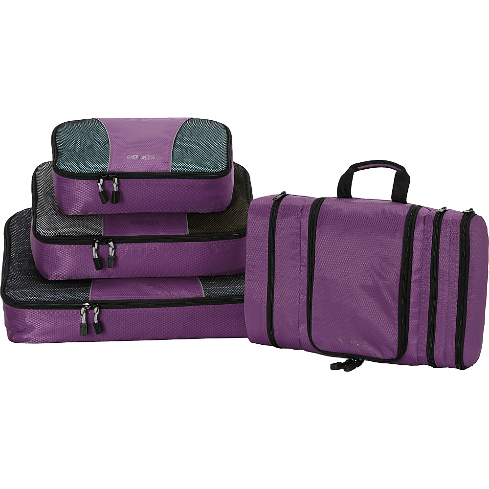 eBags Pro Packer 3pc Classic Packing Cubes with Pack-It-Flat Toiletry Kit Eggplant - eBags Travel Organizers