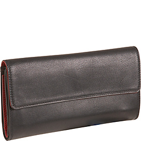 Ladies 3-Part Checkbook Clutch Black/Red