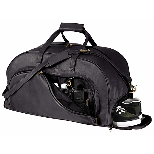 Leather Duffle Bag With Shoe Compartment