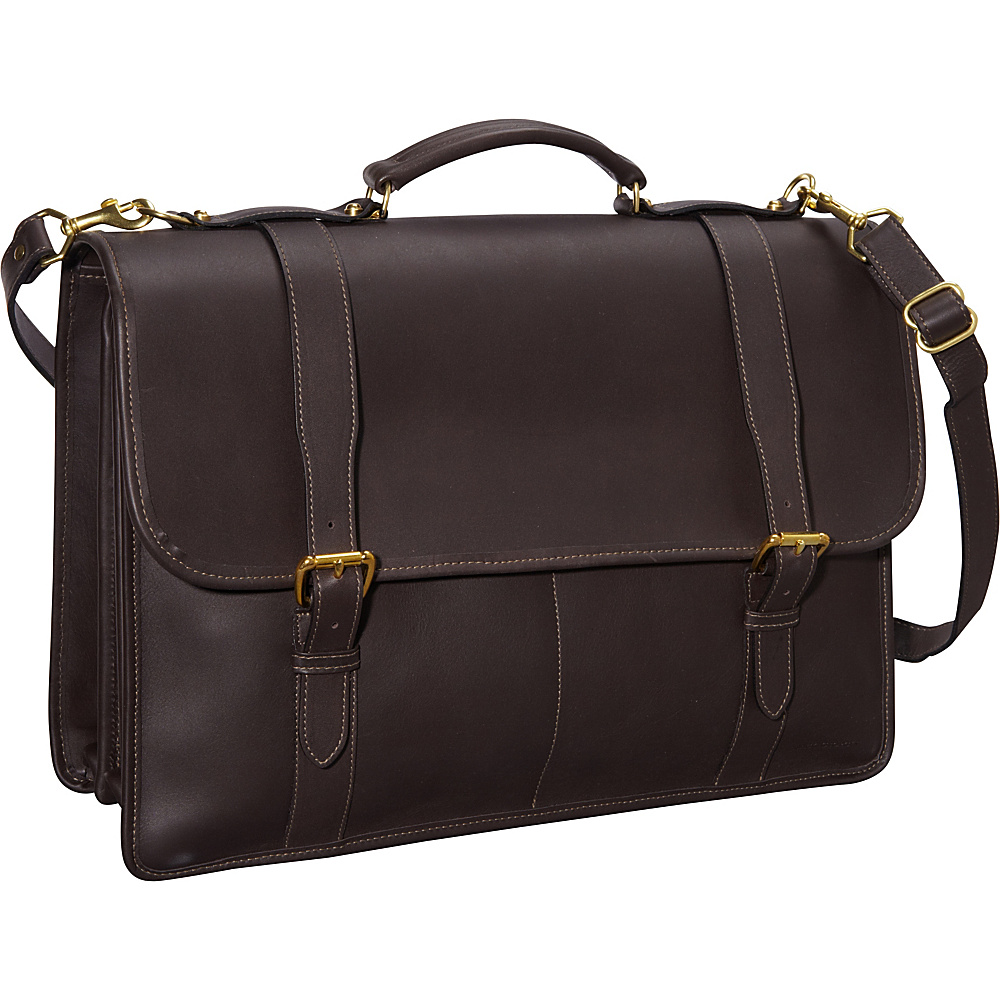 Jack Georges University Collection Oversized Laptop Brief w/ Buckle Closure Straps Brown - Jack Georges Non-Wheeled Computer Cases