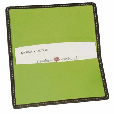 Royce Leather Business Card Case-Metro Collection Black/Key Lime Green - Royce Leather Business Accessories