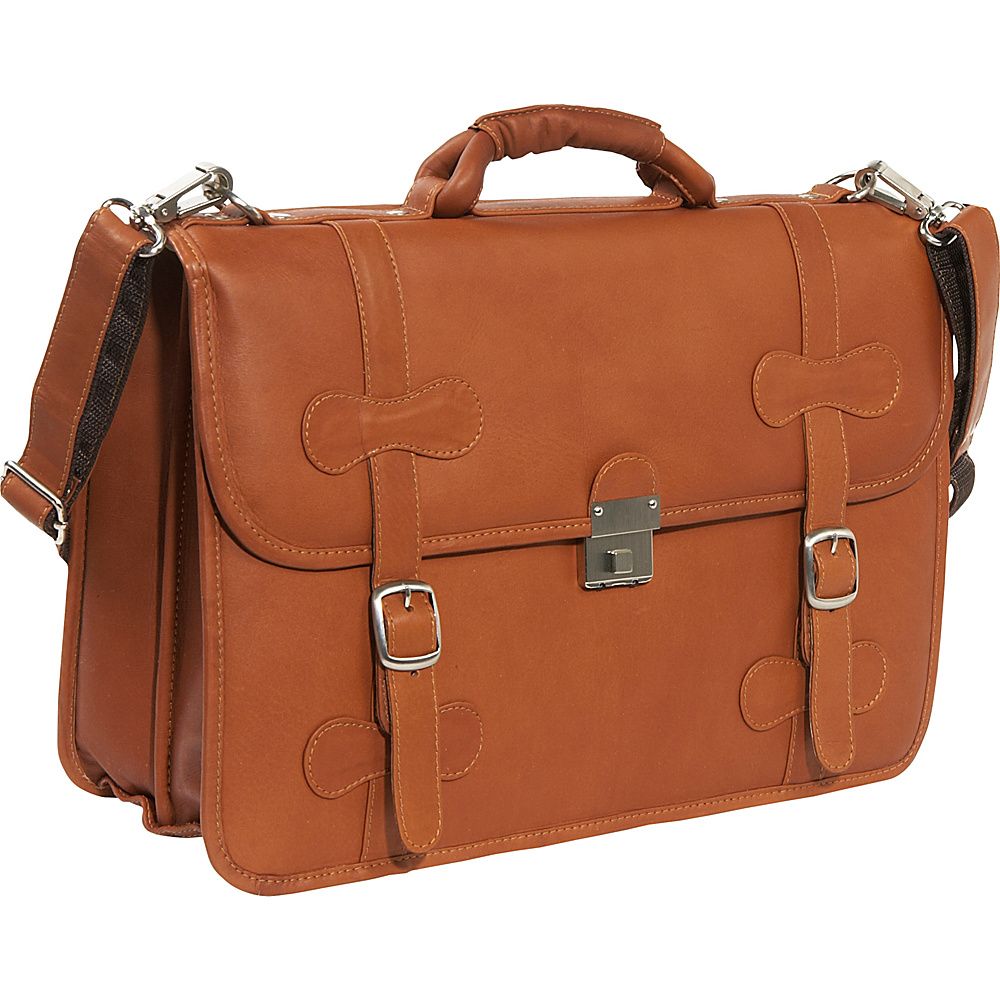 Piel XXL Leather Flap-Over Portfolio - Saddle - Work Bags & Briefcases, Non-Wheeled Business Cases