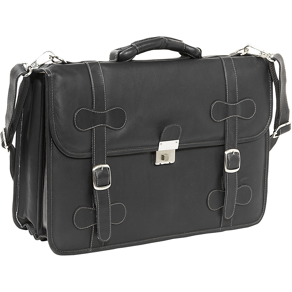 Piel XXL Leather Flap-Over Portfolio - Black - Work Bags & Briefcases, Non-Wheeled Business Cases