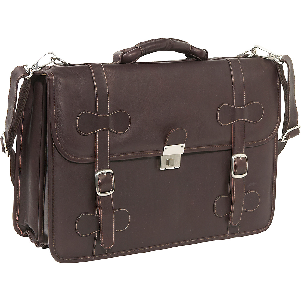 Piel XXL Leather Flap-Over Portfolio - Chocolate - Work Bags & Briefcases, Non-Wheeled Business Cases