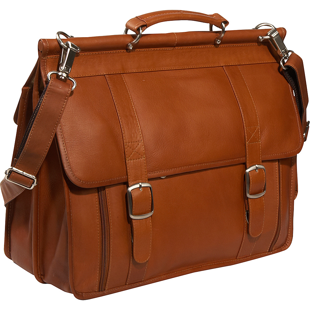 Piel European Laptop Briefcase - Saddle - Work Bags & Briefcases, Non-Wheeled Business Cases