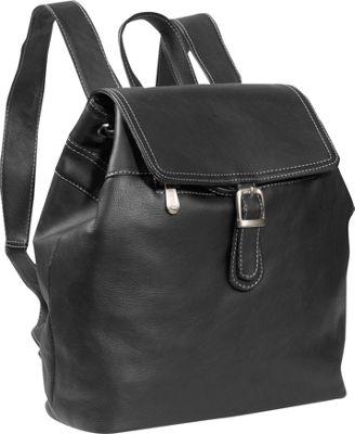 Piel Top FLap Drawstring Backpack - Black