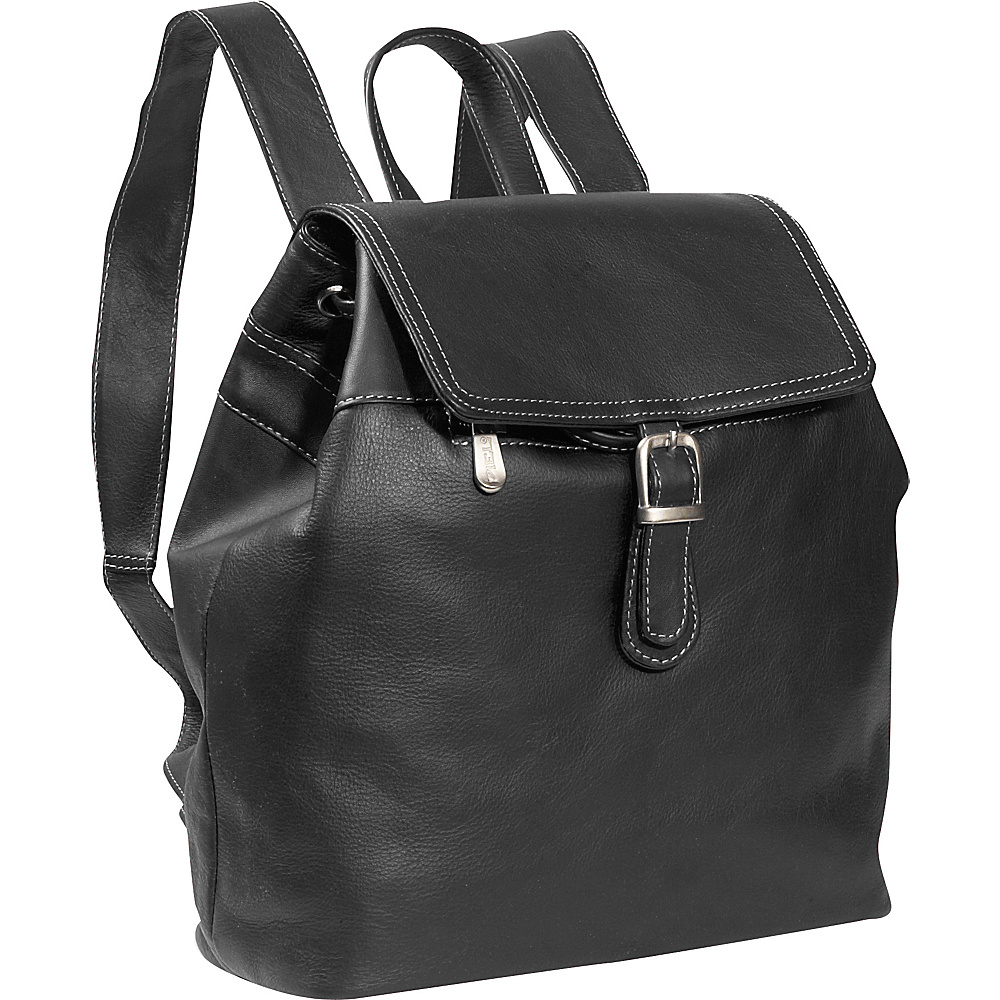 Piel Top FLap Drawstring Backpack - Black - Handbags, Leather Handbags