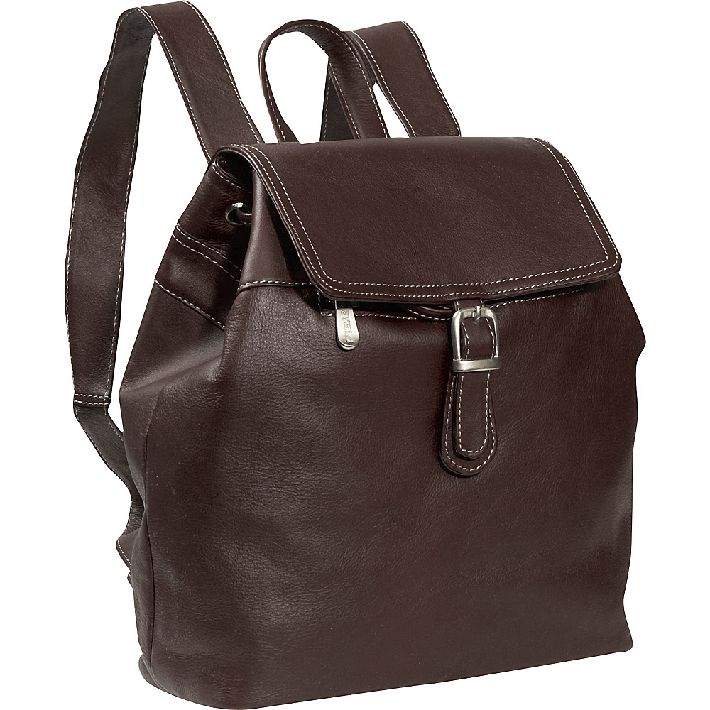 Piel Top FLap Drawstring Backpack - Chocolate - Handbags, Leather Handbags