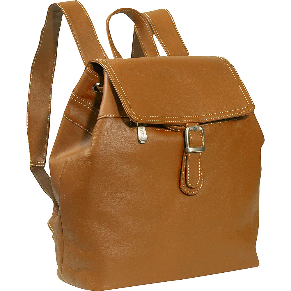 Piel Top FLap Drawstring Backpack - Saddle - Handbags, Leather Handbags