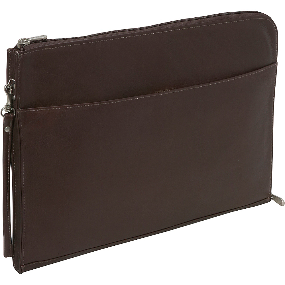Piel Zip Around Envelope - Chocolate - Work Bags & Briefcases, Business Accessories