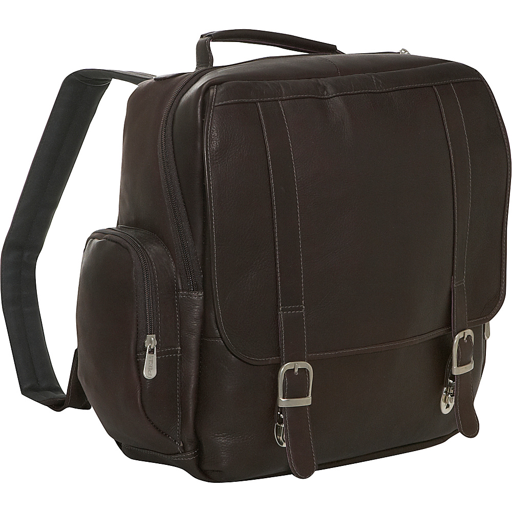 Piel Vertical Leather Laptop Backpack - Chocolate - Backpacks, Business & Laptop Backpacks