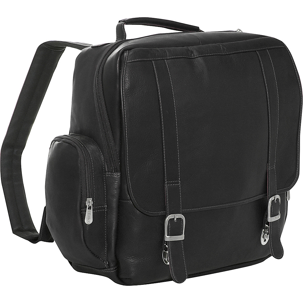 Piel Vertical Leather Laptop Backpack - Black - Backpacks, Business & Laptop Backpacks