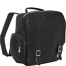 Vertical Leather Laptop Backpack Black