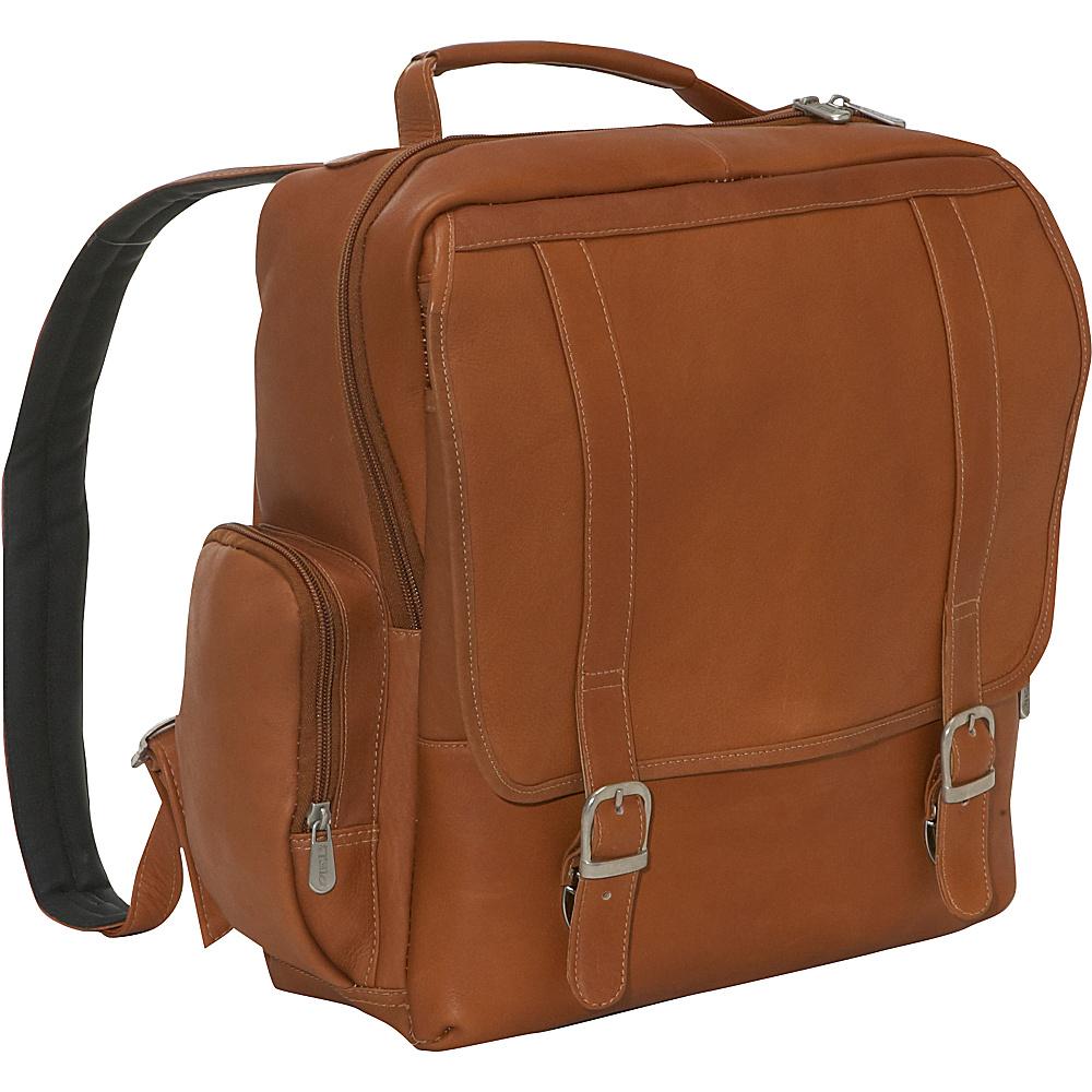 Piel Vertical Leather Laptop Backpack - Saddle - Backpacks, Business & Laptop Backpacks