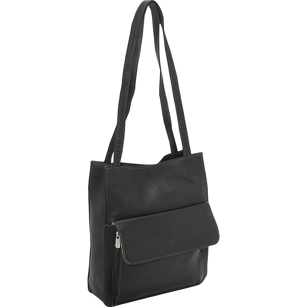Piel Shoulder Tote Organzier - Black - Handbags, Leather Handbags