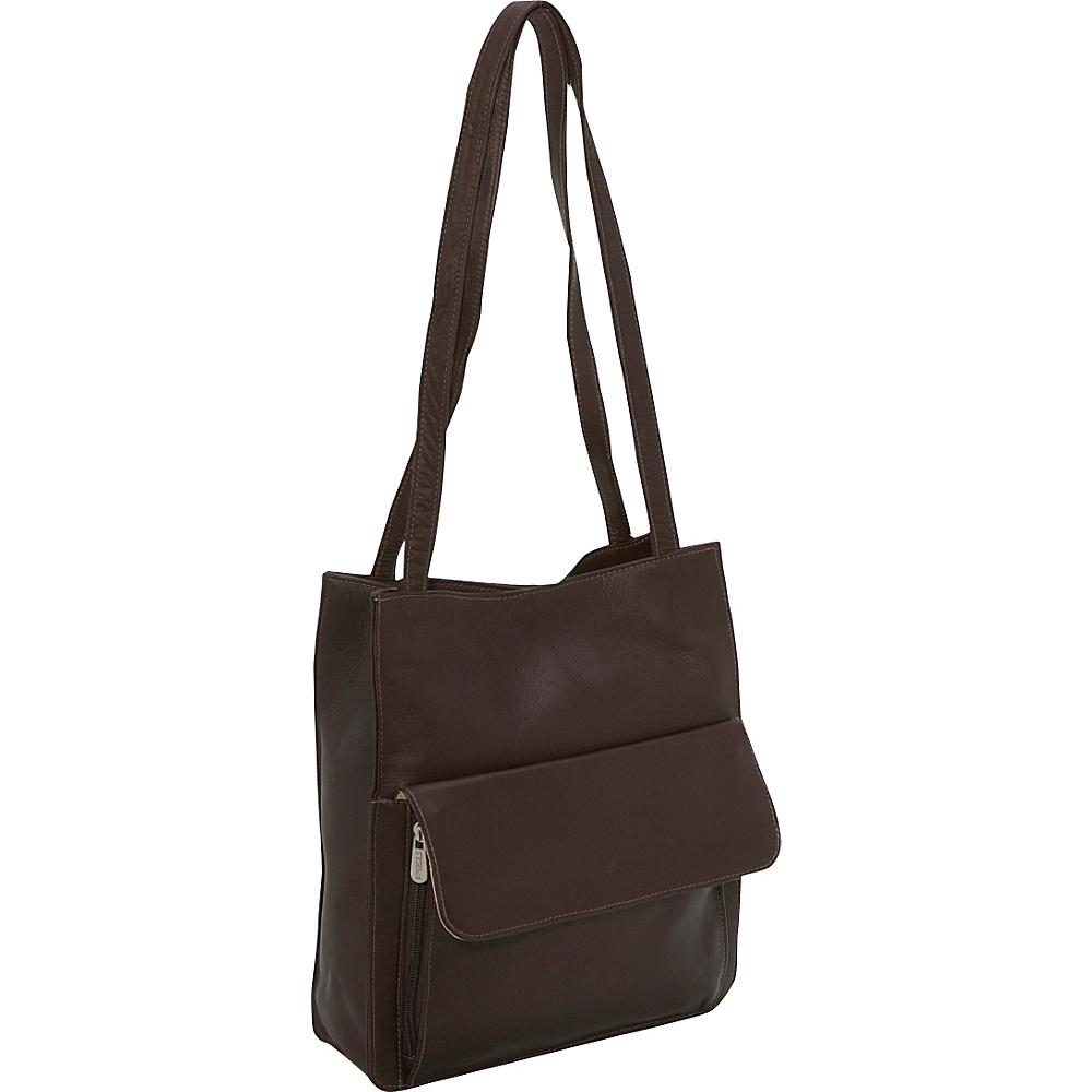 Piel Shoulder Tote Organzier Chocolate - Piel Leather Handbags - Handbags, Leather Handbags