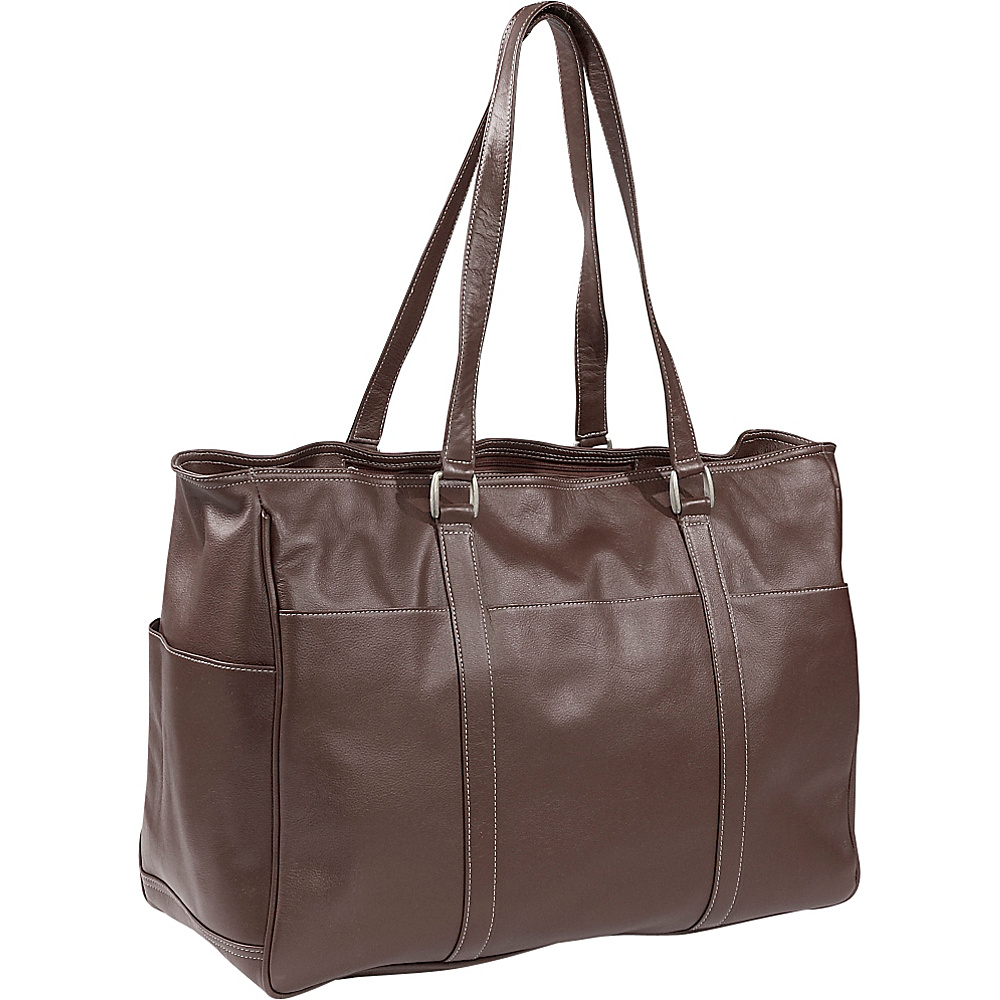 Piel Womens Large Business Tote - Chocolate - Work Bags & Briefcases, Women's Business Bags